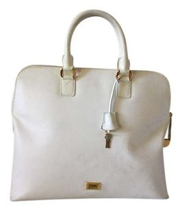 Gianfranco Ferre Gold Satchel in Ivory