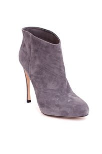 Gianvito Rossi Suede Leather Almond Toe Stiletto Platform Ankle 838 Gray Boots
