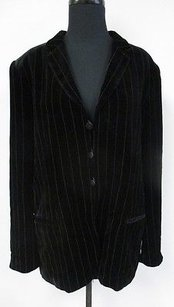 Giorgio Armani Black Striped Rayon Blend Vintage Button Front R980 Brown Jacket