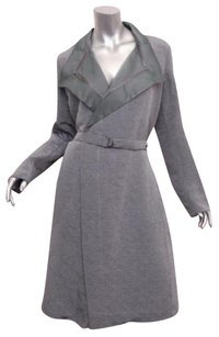 Giorgio Armani Womens Graygreen Silk Belted Trench Coat Gray Jacket