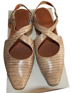 Giorgio Armani Camel lizard stamped leather Sandals