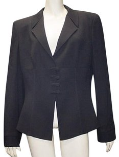 Giorgio Armani Giorgio Armani Dark Navy Wool Blend Ribbed Button Front Blazer Hs1965