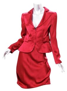 Giorgio Armani Giorgio Armani Womens Red Silk Satin Zip Up Jacket Skirt Suit Outfit