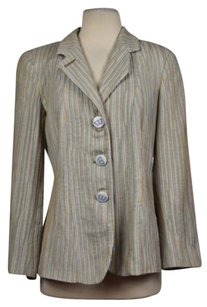 Giorgio Armani Giorgio Armani Womens Tan Striped Blazer Wtw Long Sleeve Basic Jacket