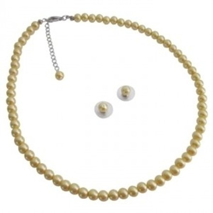 Girl Friend Bridemaids Party Favor Gifts Yellow Pearls Jewelry Set
