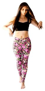 Gitanilla Floral Yoga Pants Pink Orange Black Leggings