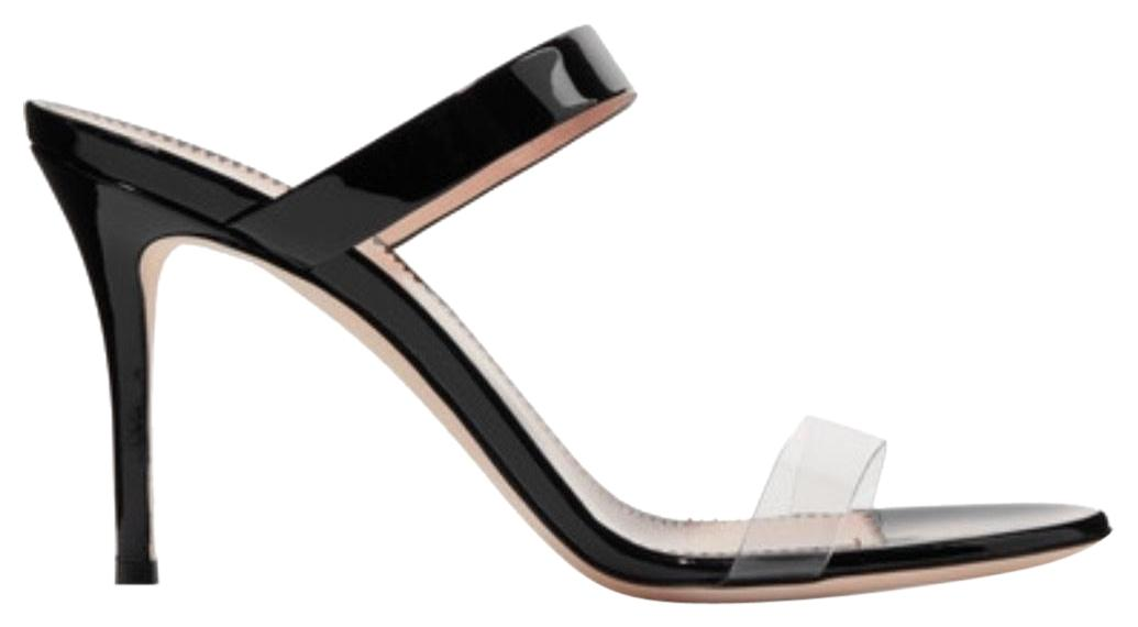 Giuseppe Zanotti Black Ali 90 Patent-leather and Perspex Sandals Size EU 37 (Approx. US 7) Regular (M, B)