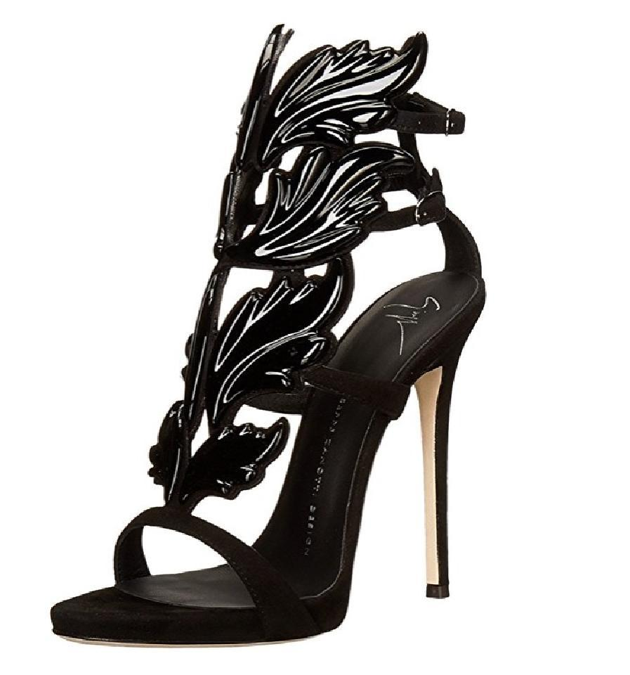 a5bec29f78b4 Giuseppe Zanotti Black Cruel Patent Patent Patent Leather Winged Sandals  Size EU 37 (Approx.