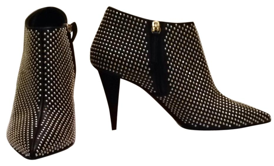 """Giuseppe Zanotti Black Leather Gold Studded """"Ester Boots/Booties Size US 9.5"""