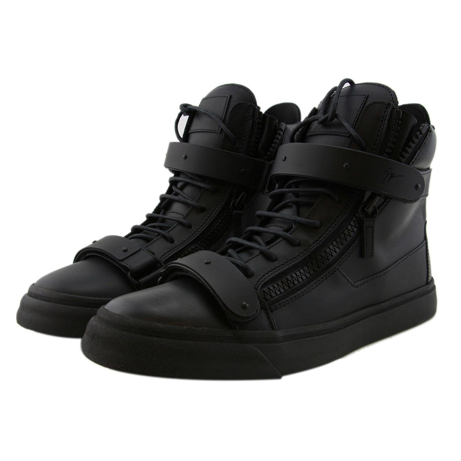 zuI1b8s Giuseppe Zanotti Womens High-Top Sneakers Black Leather Sales