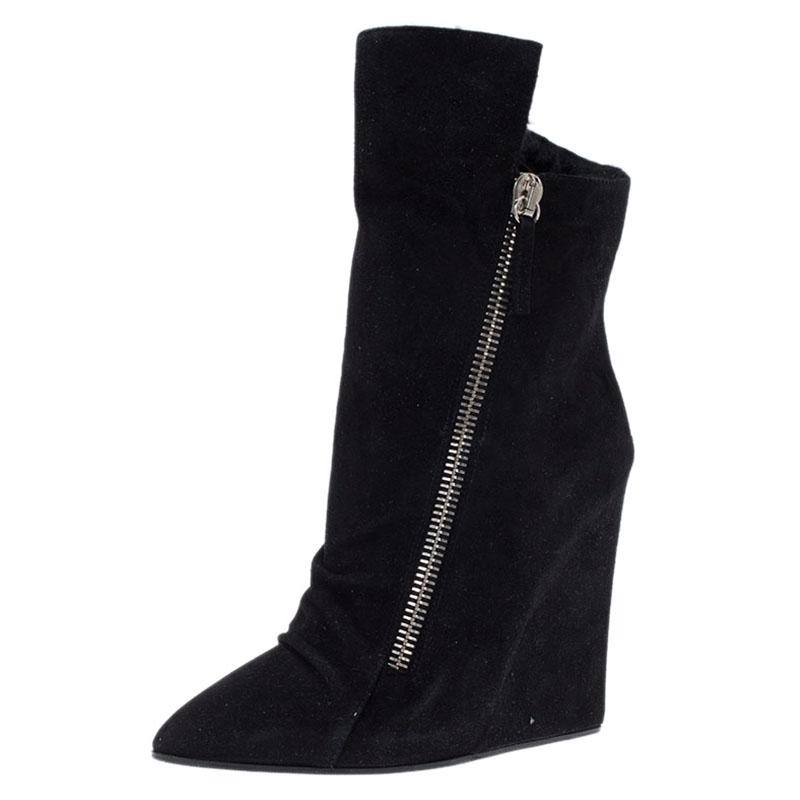 Giuseppe Zanotti Fur-Lined Wedge Ankle Boots cheap sale outlet locations gmuq1WaBd7