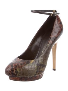 Giuseppe Zanotti Black/Brown/Green Snake Skin Pumps