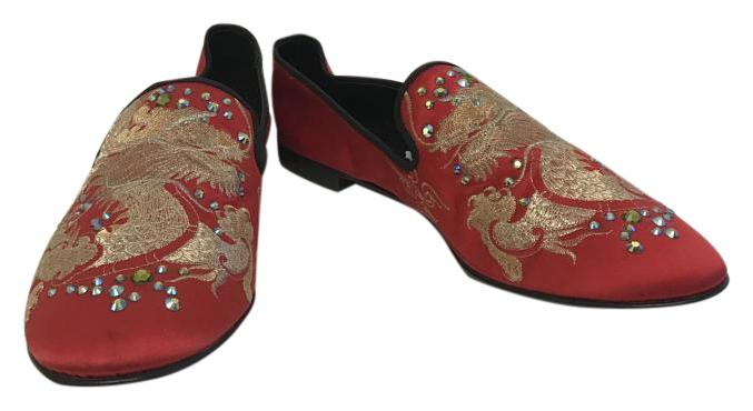 Giuseppe US Zanotti Red Embroidered Crystal Dragon Loafers Flats Size US Giuseppe 13 Regular (M, B) a8d3a2