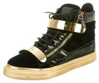 Giuseppe Zanotti Velvet Leather Sneakers Black, navy, Gold Athletic