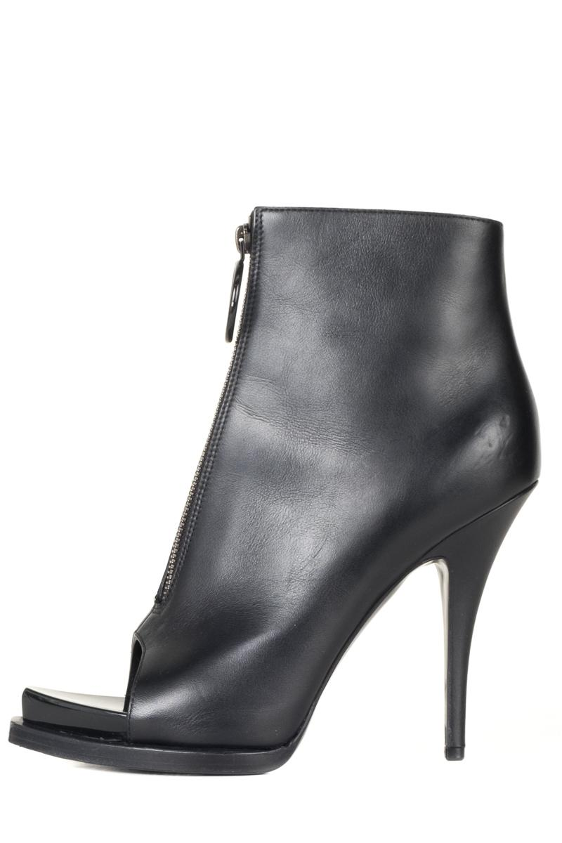 Givenchy Black Leather Open Boots/Booties Size EU 38.5 (Approx. US 8.5) Regular (M, B)