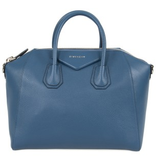 Givenchy Classic Leather Textured Pebbled Tote in Teal Blue