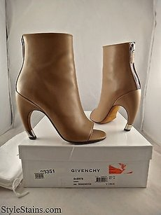 Givenchy Curved Heel Leather Rosewood Boots