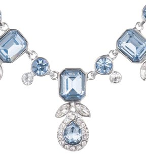 Givenchy Givenchy Silver-Tone Blue and Clear Crystal Collar Necklace