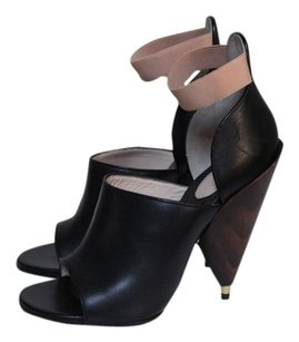 Givenchy Leather Cone Wood Heel Black Sandals