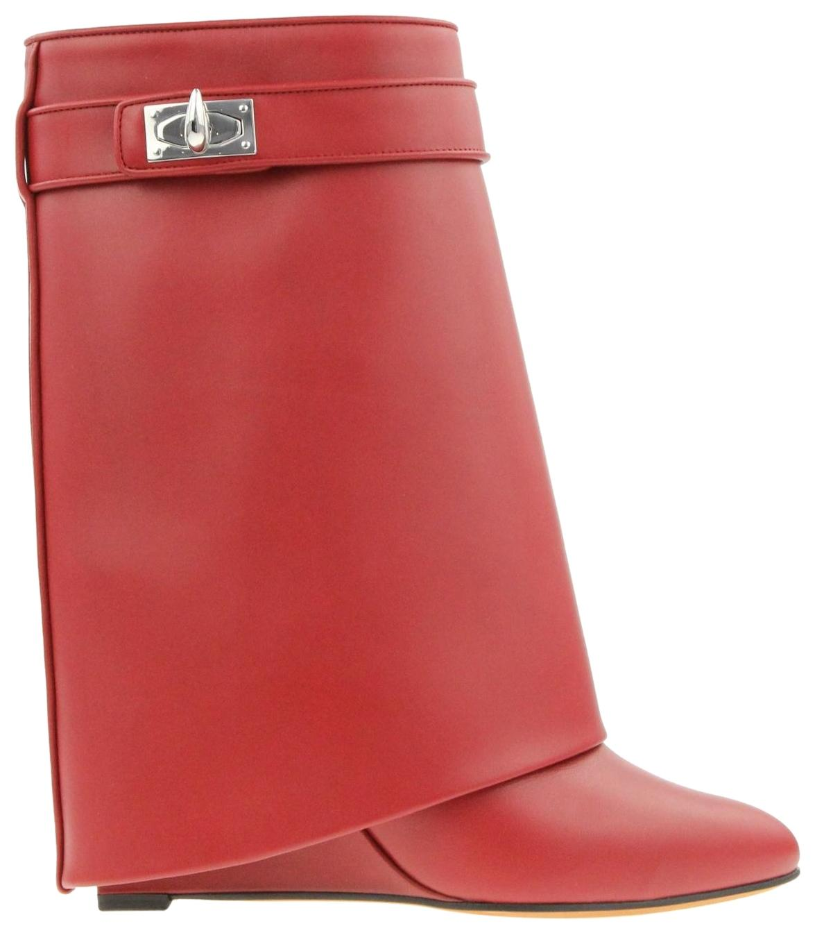 Givenchy Red Leather Shark Lock Wedge Boots/Booties Size EU 38.5 (Approx. US 8.5) Regular (M, B)