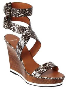 Givenchy Roccia Snakeskin Wooden Wedge Sandals