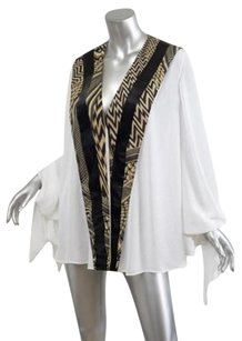 Givenchy Chiffon Chevron Stripe Draped Shirt Top White