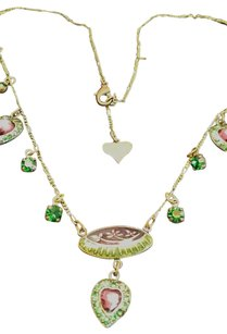 Glass Works Studio Vintage Style Emerald Glass Amethyst Glass Adjustable Heart Necklace