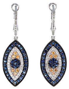 GLK 14K WHITE GOLD 0.79CT SAPPHIRE AND DIAMOND EVIL EYE EARRINGS