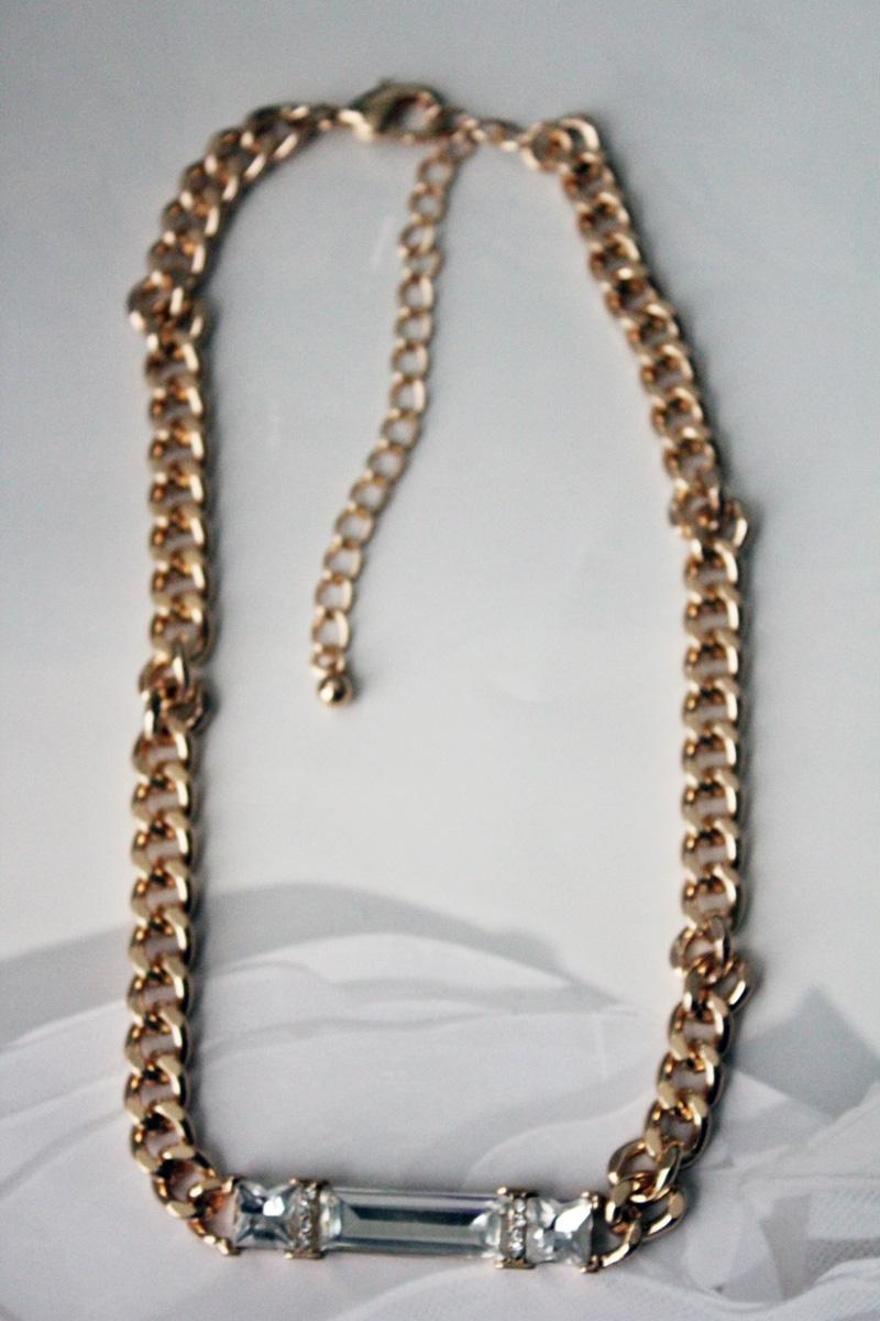 Gold Tone Chain Link Clear Crystal Pendant Chain Necklace