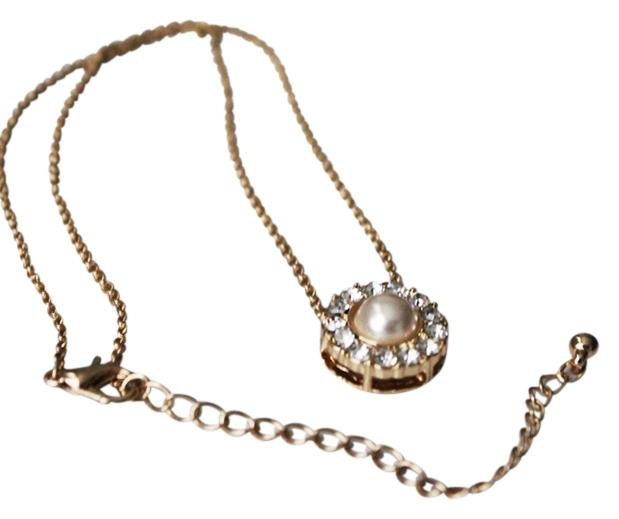 Gold Tone Crystal Glass Pearl Charm Necklace