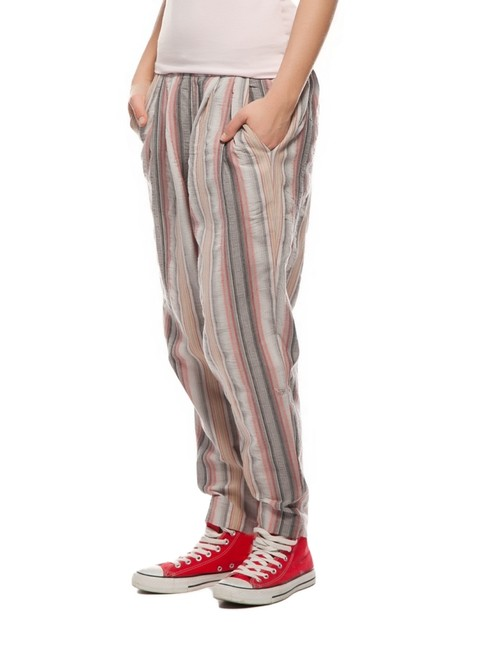 DEEP PINK Yoga Yoga Relaxed Pants Gray Red