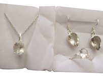 Green Amethyst 4pc set in silver, size 8 FREE SHIP
