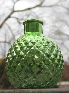 Green Mercury Glass Mini Bud Vases Round Speckled