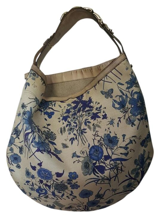 Gucci 2011 Collection Bone With Blue Floral Accents Canvas Shoulder Bag - Tradesy