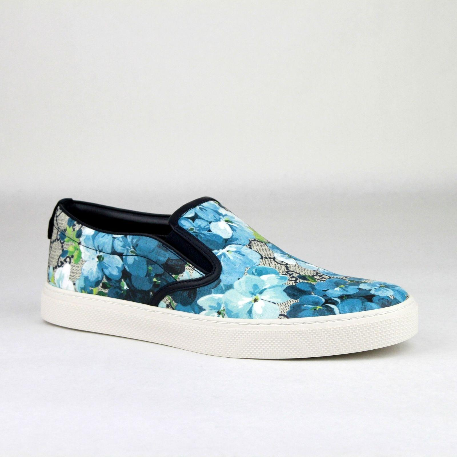 gucci blue men u0026 39 s bloom print flower slip on sneakers 10 5g  11 5 407362 8471 shoes
