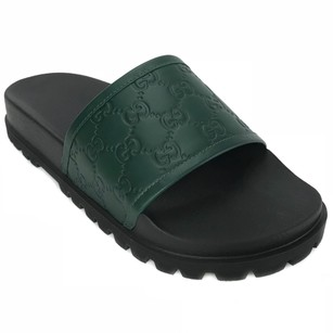 Gucci 431070 Ssima Leather Green Sandals