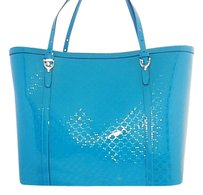 Gucci Nice Gg Patent Leather Teal With Documentation Tote in Blue Green