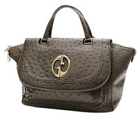 Gucci Ostrich 1973 Top Tote in Olive (Green-Brown)