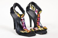 Gucci Black Iridescent Satin Multi-Color Sandals