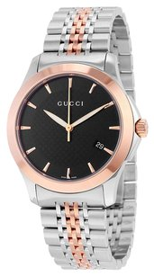 Gucci Authentic Mens Gucci G-Timeless 2 Tone Rose Gold Finish Stainless Steel Black Dial Watch YA126410