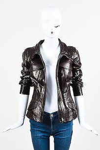 Gucci Leather Ruched Brown Jacket