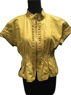 Gucci Leather Ruffled Zip Up High Collar Short Sleeve 216a Yellow Jacket