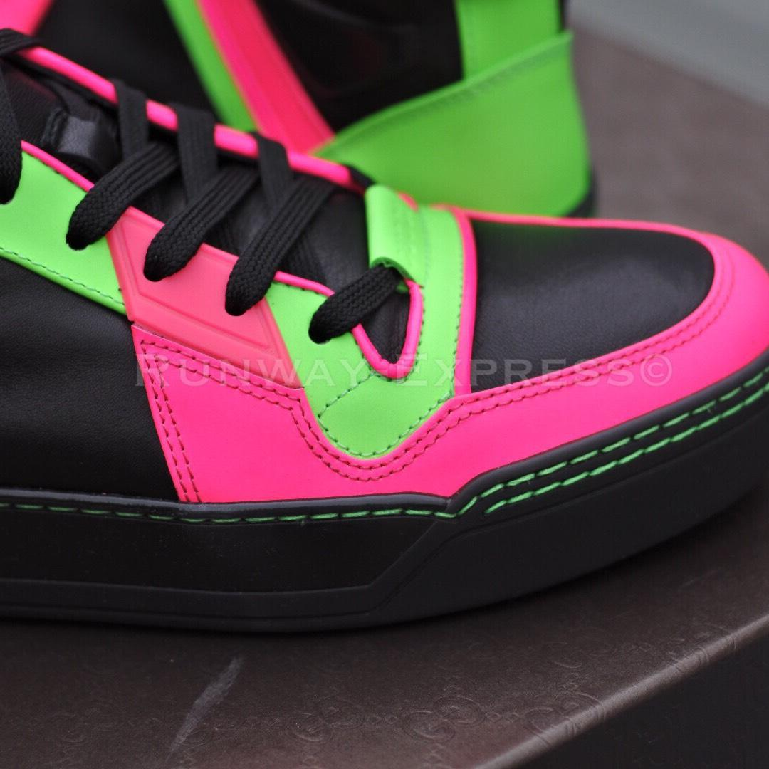 gucci sneaker leather black neon pink green l athletic