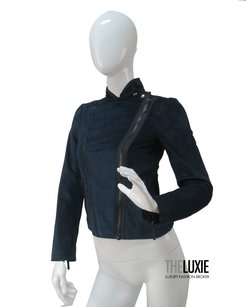 Gucci 0 Suede Moto BLUE AND BLACK Jacket