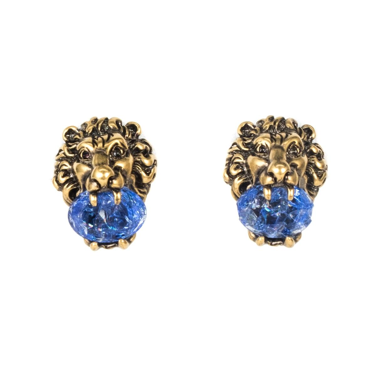 Gucci Lion head earrings with crystals C3DGkF