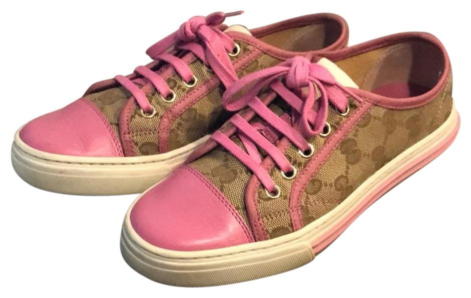gucci sneakers brown pink athletic shoes on tradesy