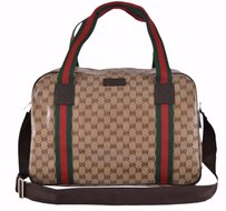 Gucci Dufflebag Canvas Leather Crystal Brown Travel Bag