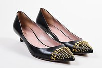 Gucci Leather Gold Tone Black Pumps