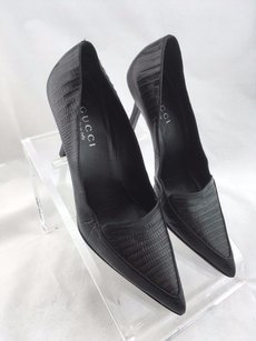 Gucci Snakeskin Pointed Black Pumps