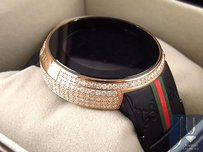 Gucci Custom Mens I Gucci Digital Rose Case Full Diamond Watch Ct Ya114207